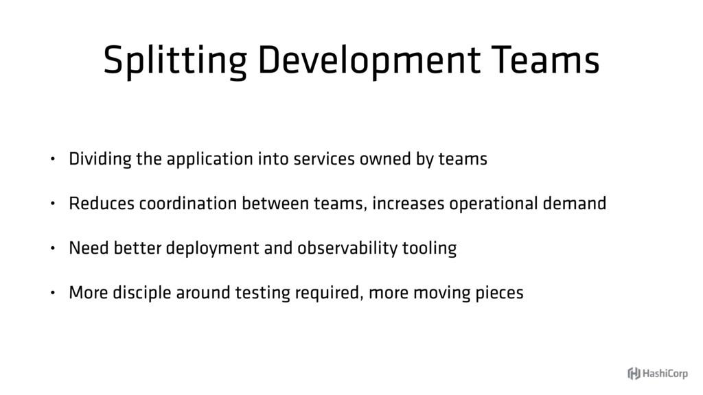 Splitting Development Teams • Dividing the appl...