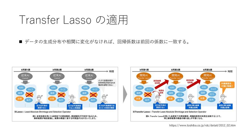 Transfer Lasso の適⽤ https://www.toshiba.co.jp/rd...