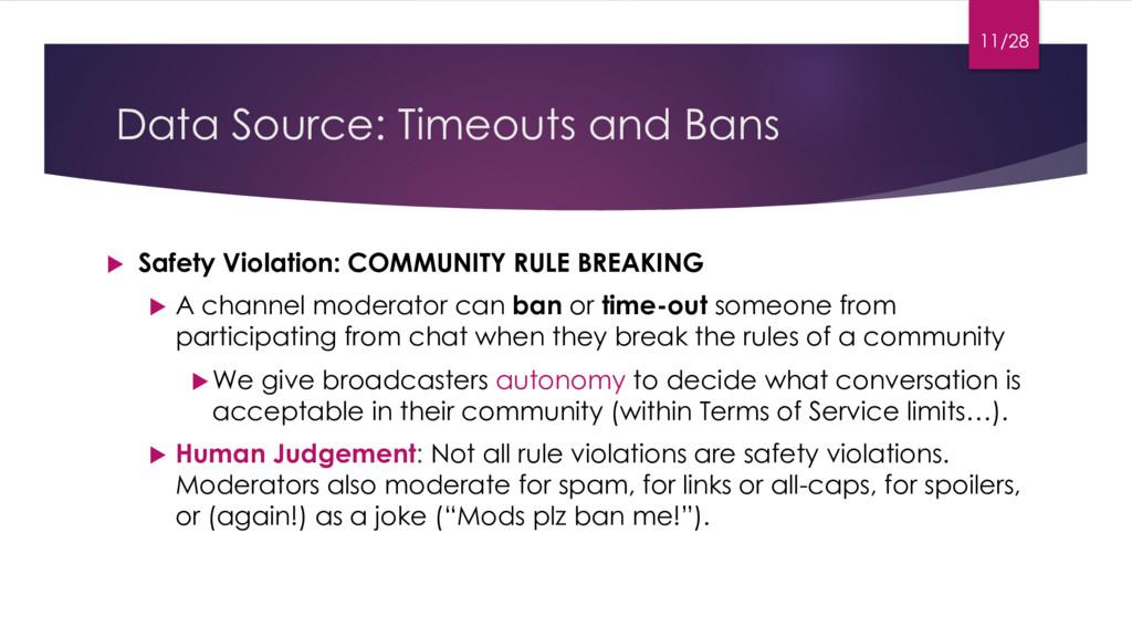 Data Source: Timeouts and Bans u Safety Violati...