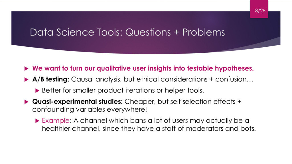 Data Science Tools: Questions + Problems u We w...