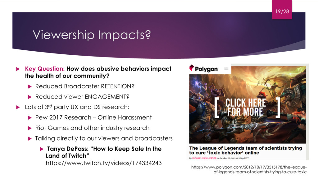 Viewership Impacts? u Key Question: How does ab...