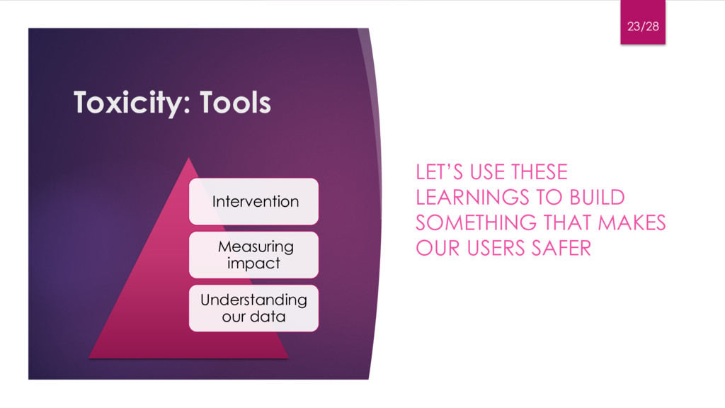 Toxicity: Tools LET'S USE THESE LEARNINGS TO BU...