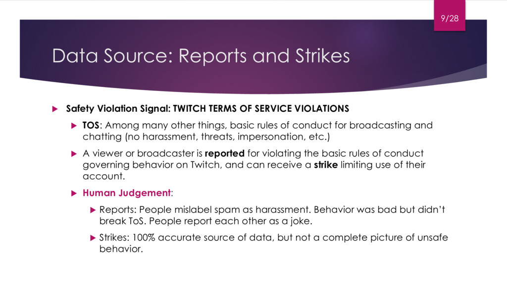 Data Source: Reports and Strikes u Safety Viola...