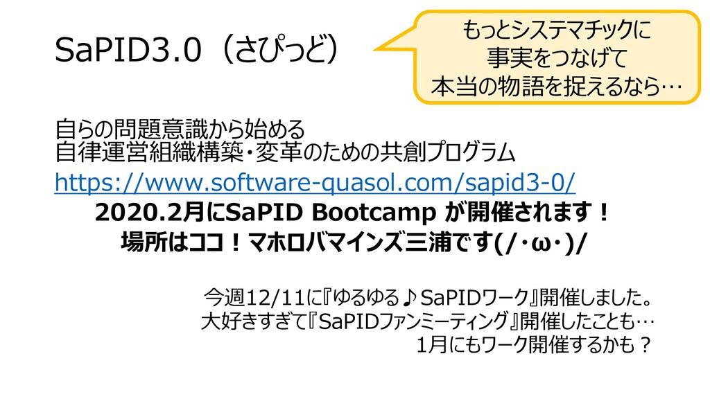 SaPID3.0(さぴっど) 自らの問題意識から始める 自律運営組織構築・変革のための共創プロ...