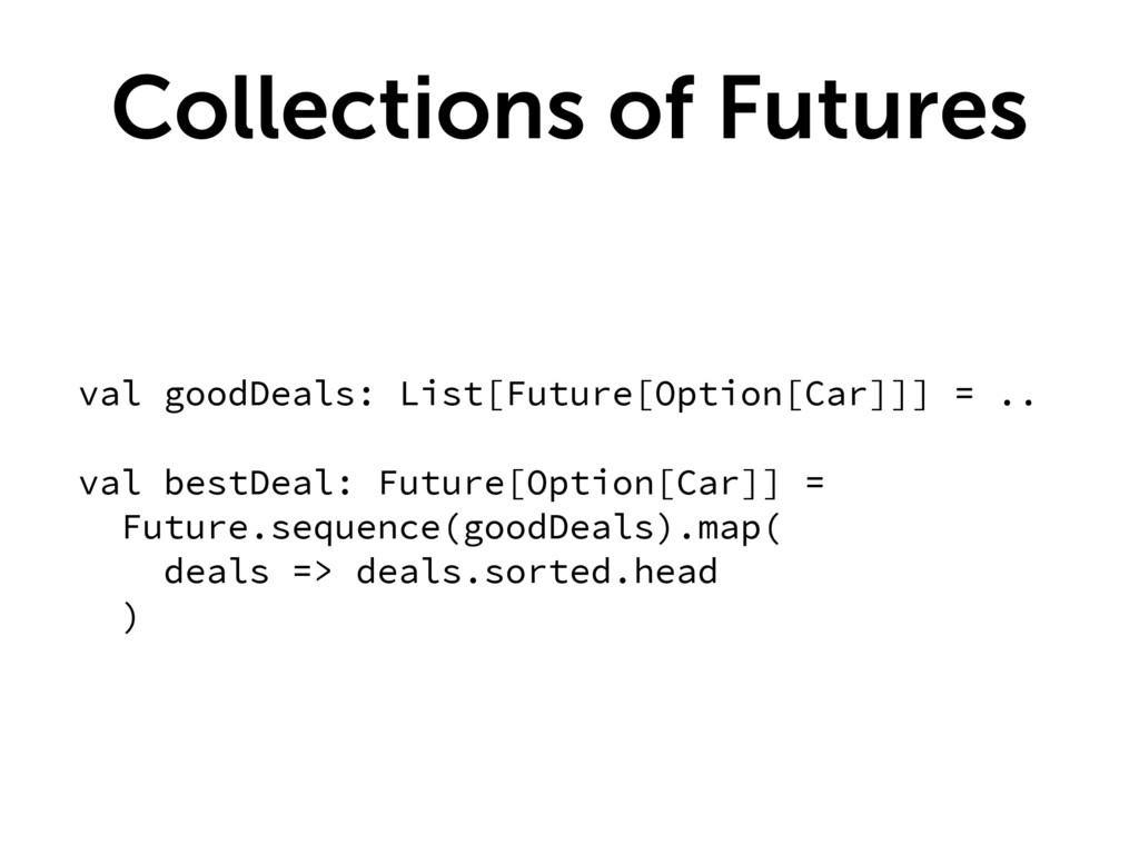Collections of Futures val goodDeals: List[Futu...