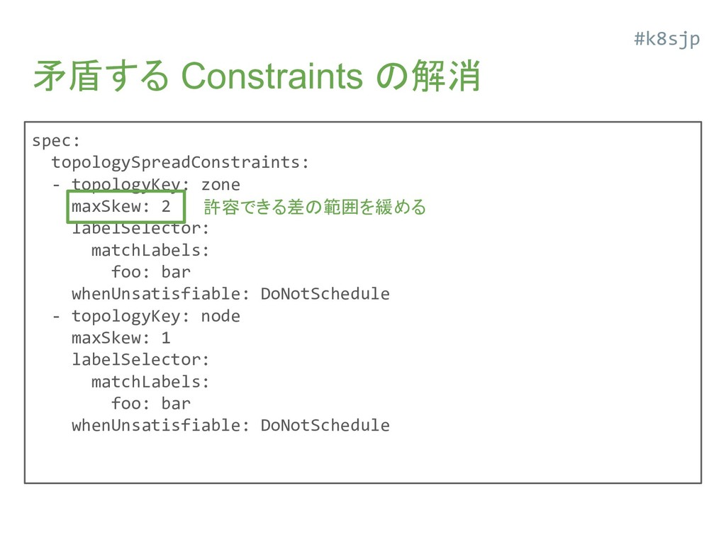矛盾する Constraints の解消 spec: topologySpreadConstr...