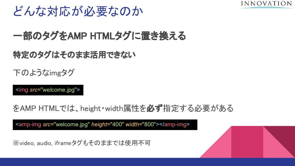 どんな対応が必要なのか 一部のタグをAMP HTMLタグに置き換える 特定のタグはそのまま活用...