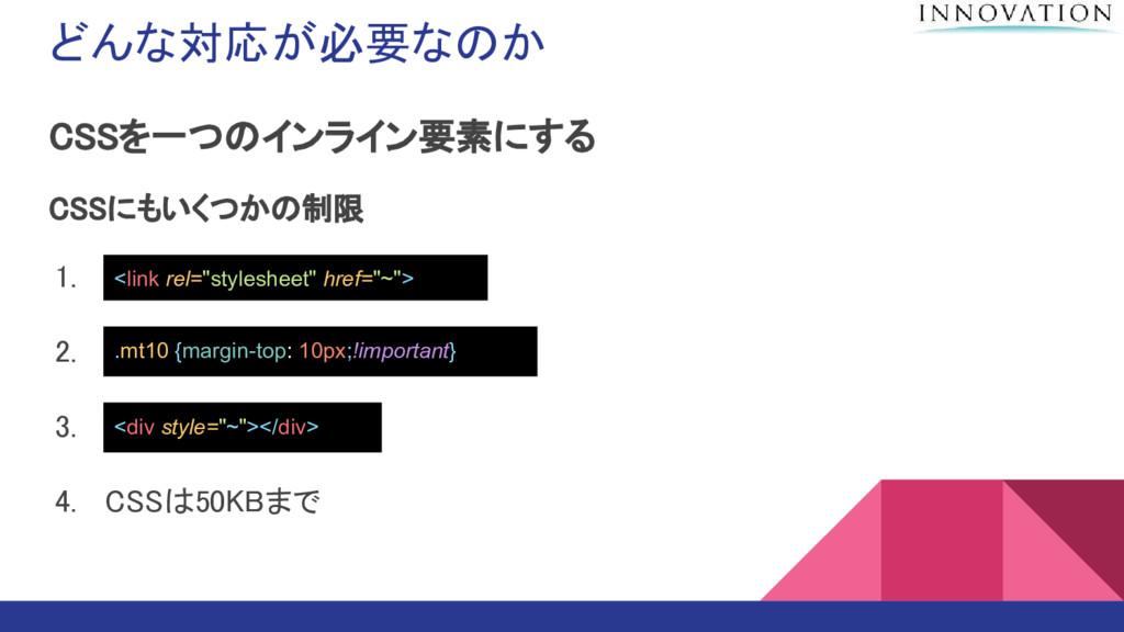 どんな対応が必要なのか CSSを一つのインライン要素にする CSSにもいくつかの制限 1. l...