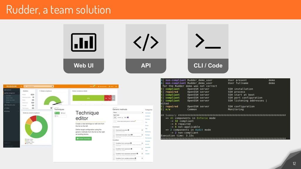 Rudder, a team solution 12 Web UI API CLI / Code