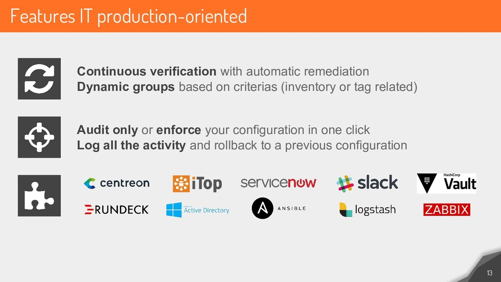 Features IT production-oriented 13 Continuous v...