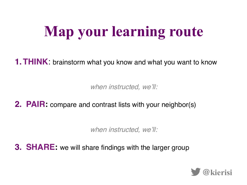 Map your learning route @kierisi 1.  THINK: bra...