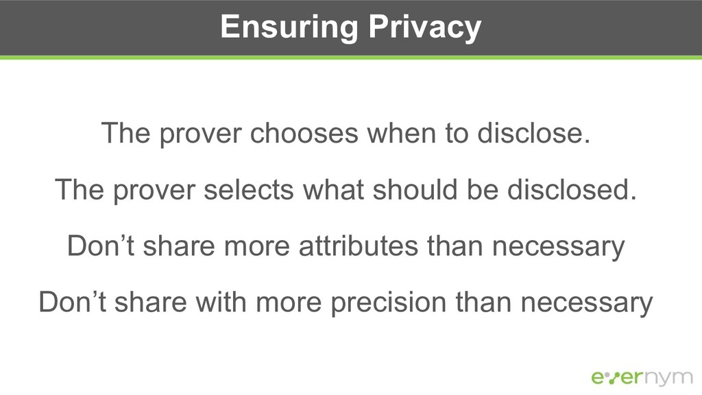 Ensuring Privacy The prover chooses when to dis...