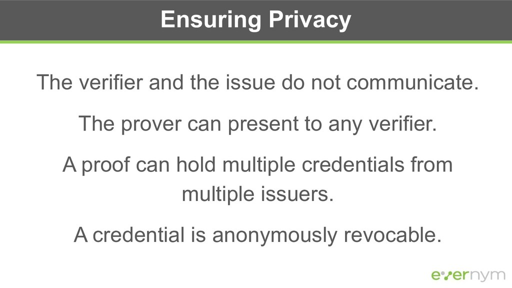 Ensuring Privacy The verifier and the issue do ...