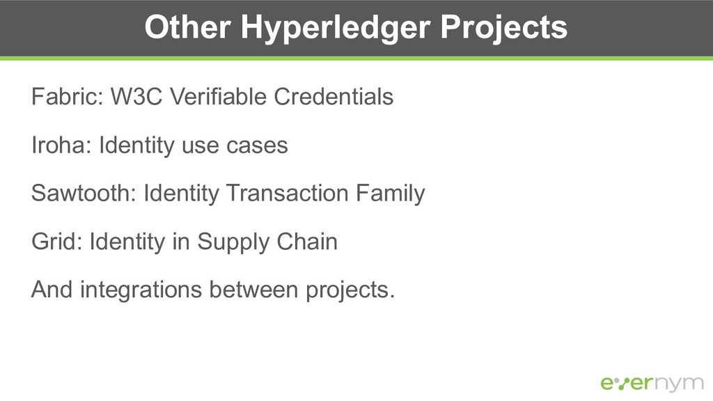 Other Hyperledger Projects Fabric: W3C Verifiab...