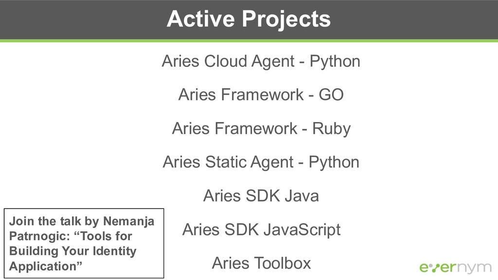 Active Projects Aries Cloud Agent - Python Arie...