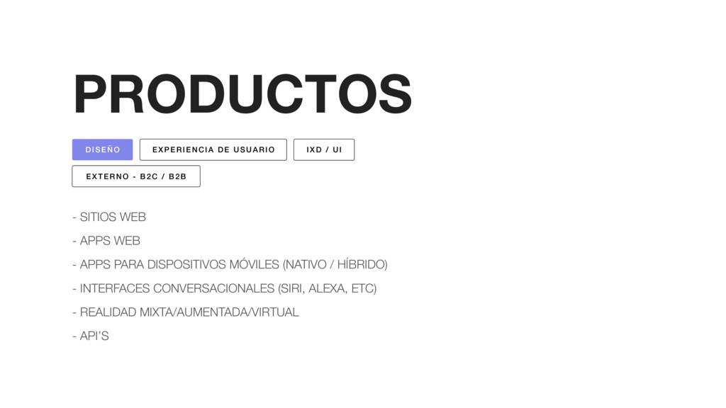 PRODUCTOS - SITIOS WEB - APPS WEB - APPS PARA D...