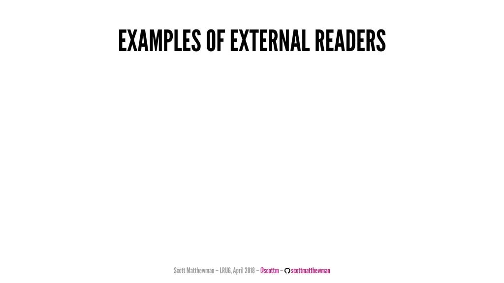 EXAMPLES OF EXTERNAL READERS Scott Matthewman –...