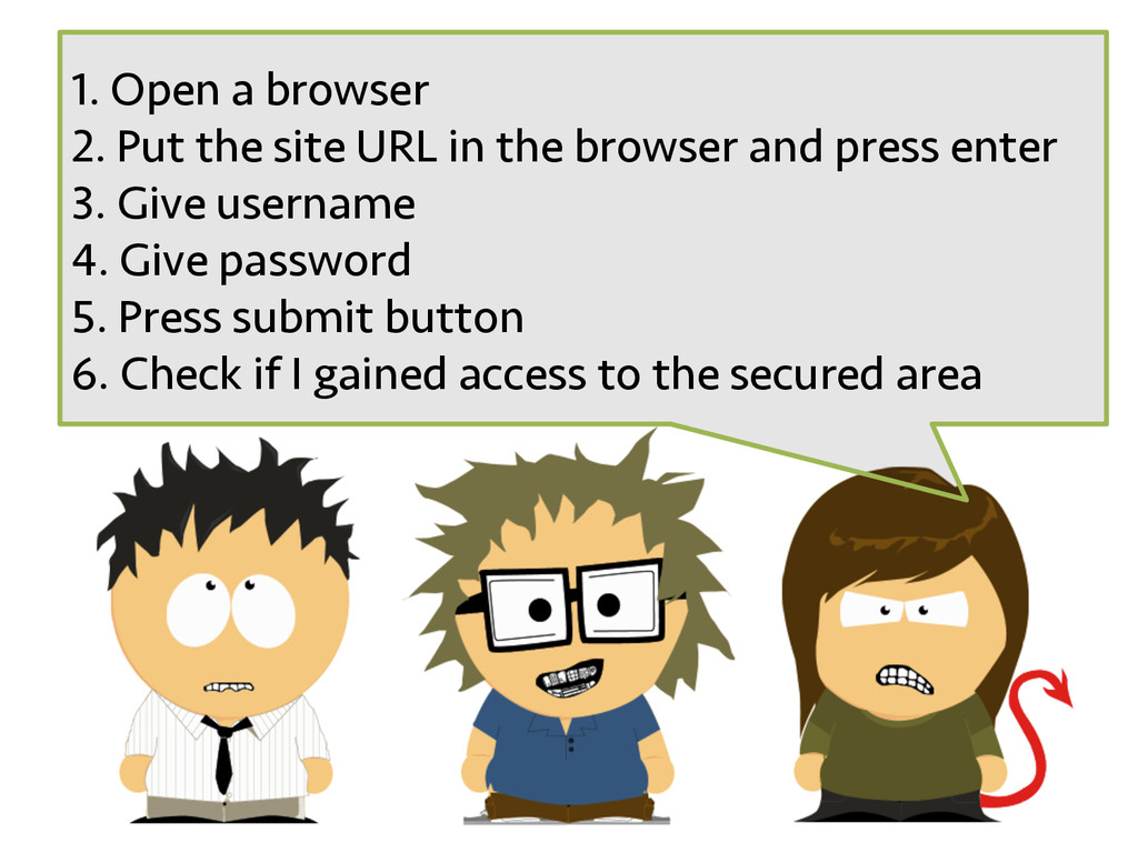 1. Open a browser 2. Put the site URL in the br...