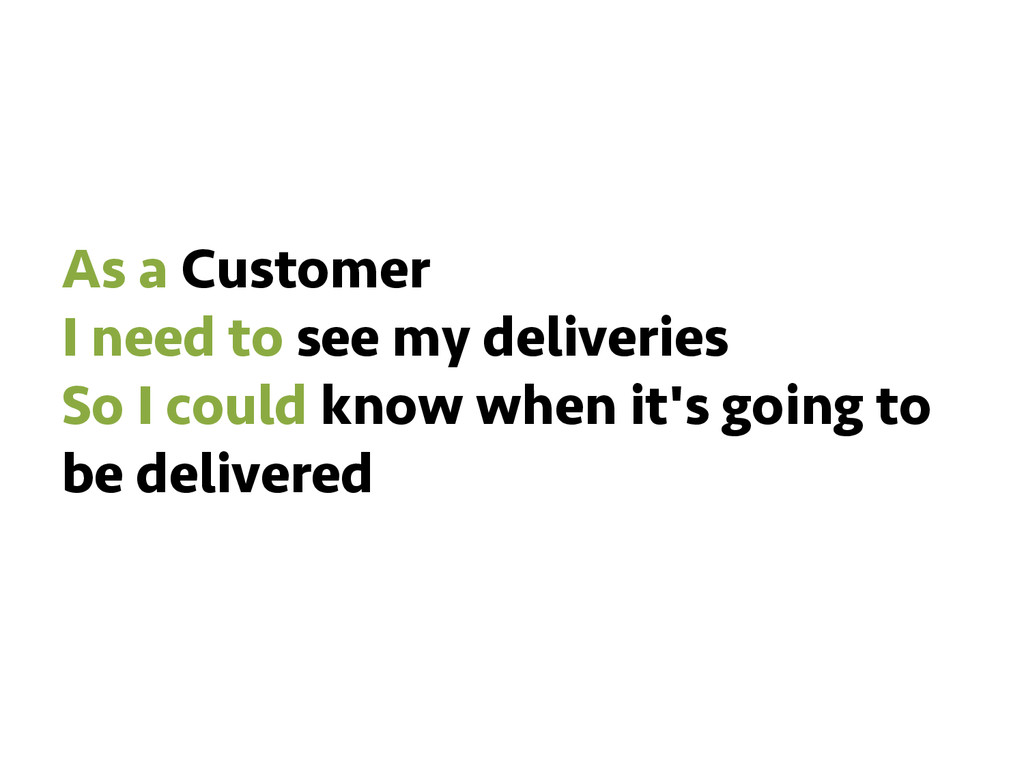 As a Customer I need to see my deliveries So I ...