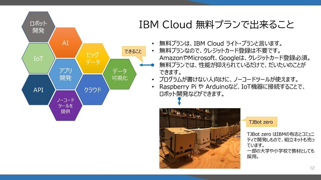IBM Cloud 無料プランで出来ること 12 AI アプリ 開発 IoT ビッグ データ ...