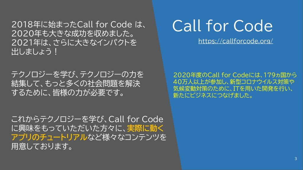 Call for Code 2018年に始まったCall for Code は、 2020年も...