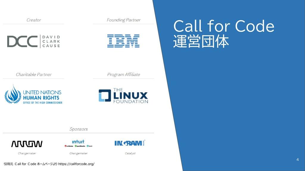 Call for Code 運営団体 4 引用元 Call for Code ホームページより...
