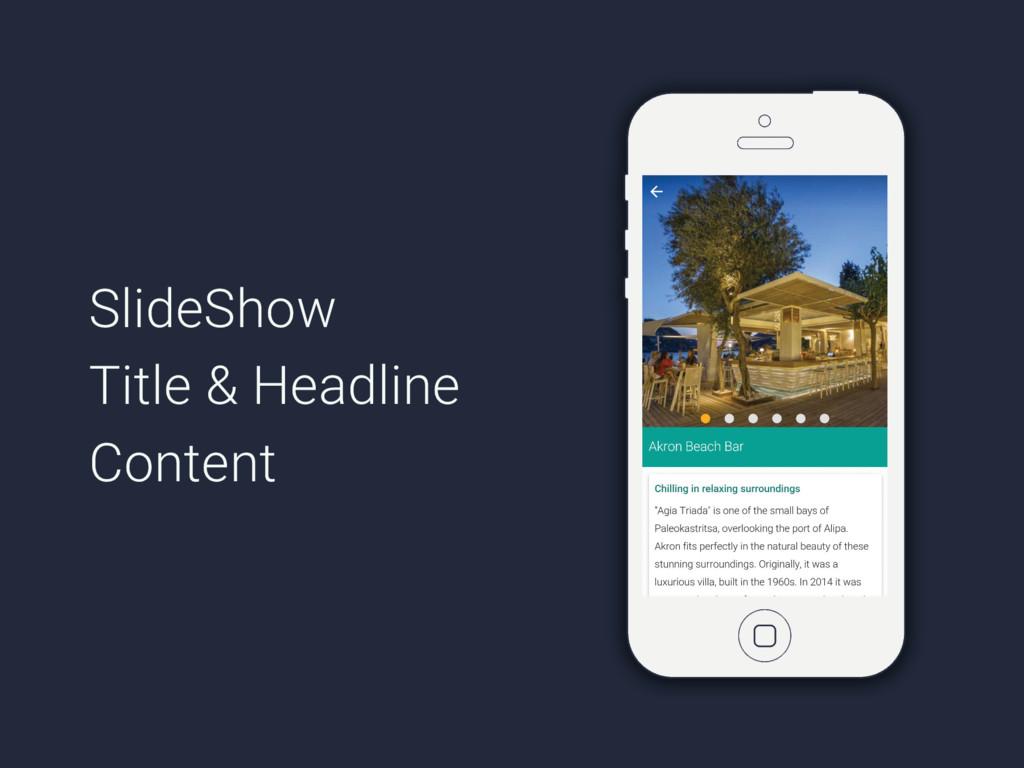 SlideShow Title & Headline Content