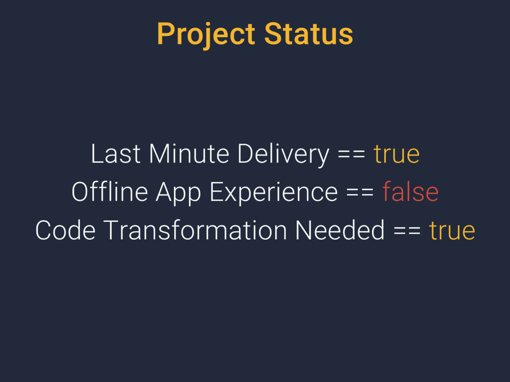 Project Status Last Minute Delivery == true Off...
