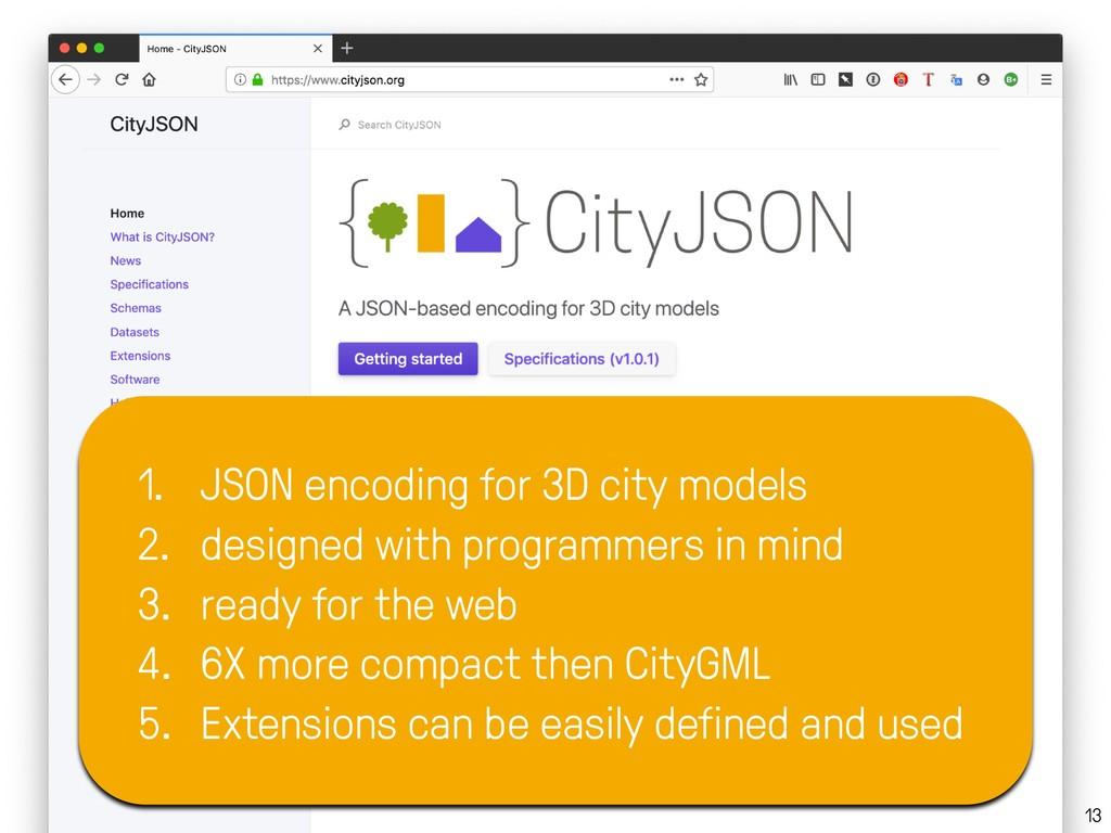13 1. JSON encoding for 3D city models 2. desig...