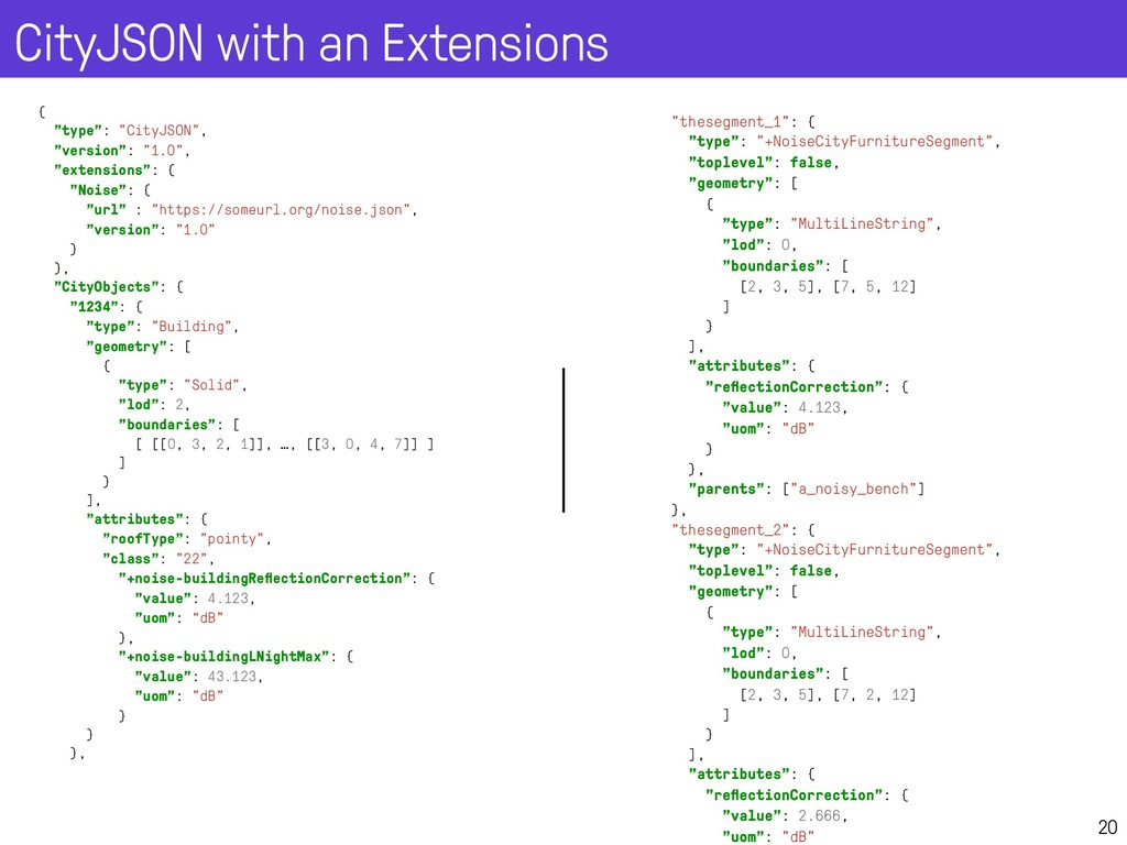 """CityJSON with an Extensions 20 { """"type"""": """"CityJ..."""