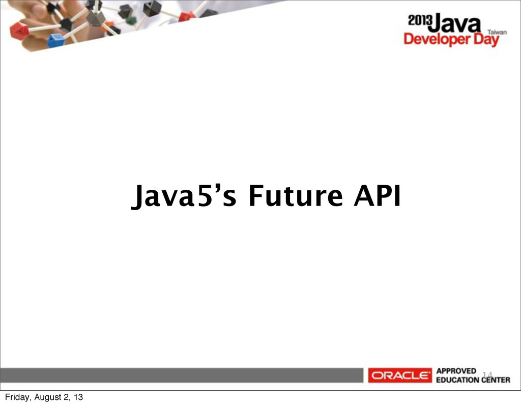 Java5's Future API 14 Friday, August 2, 13
