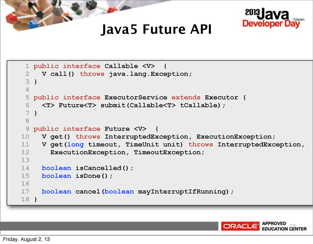 Java5 Future API 15 1 public interface Callable...
