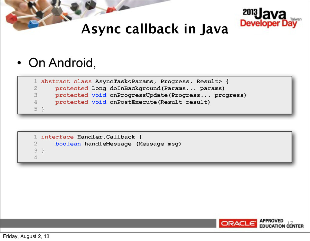 Async callback in Java • On Android, 17 1 abstr...
