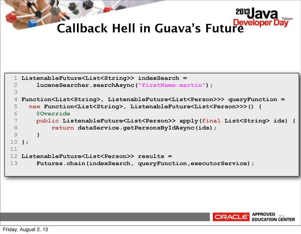 Callback Hell in Guava's Future 21 1 Listenable...