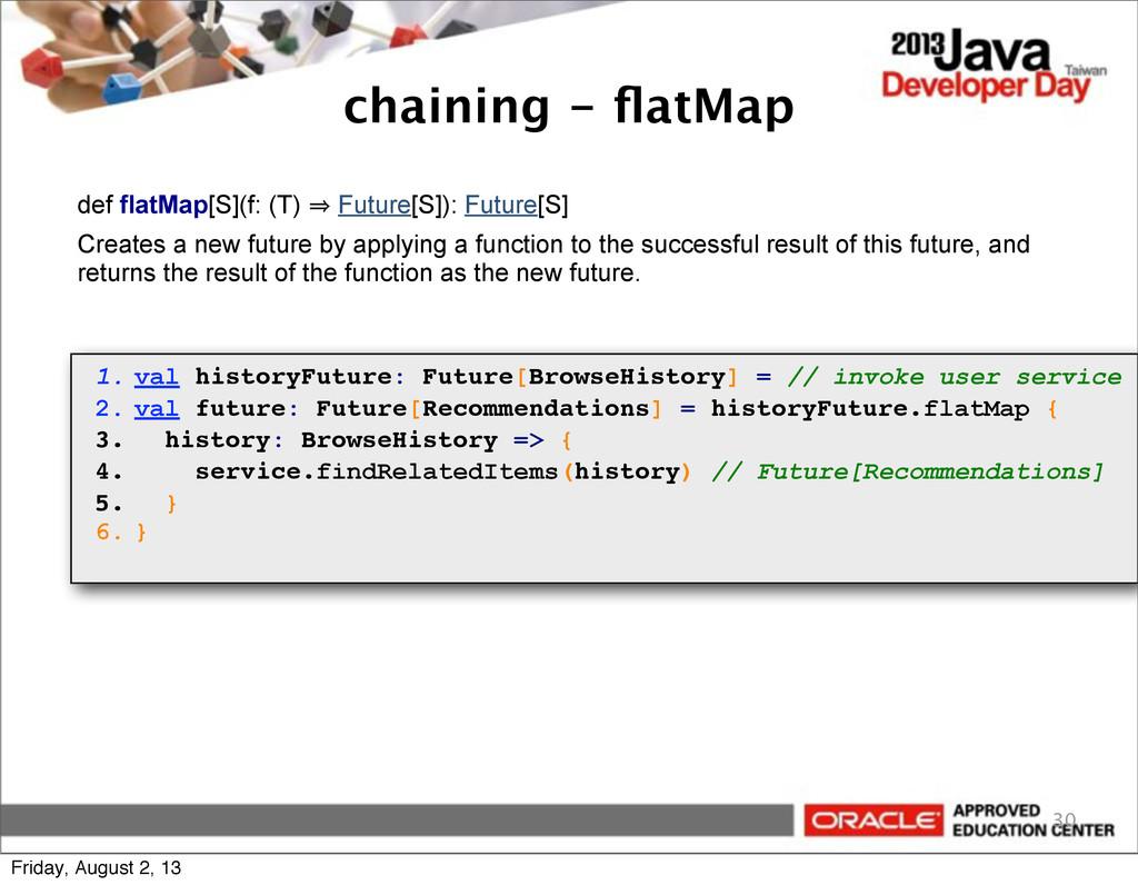 chaining - flatMap 30 def flatMap[S](f: (T) 㱺 Fu...