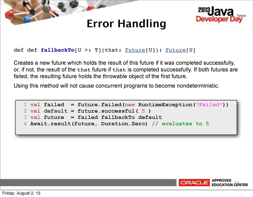 Error Handling 34 def def fallbackTo[U >: T](th...