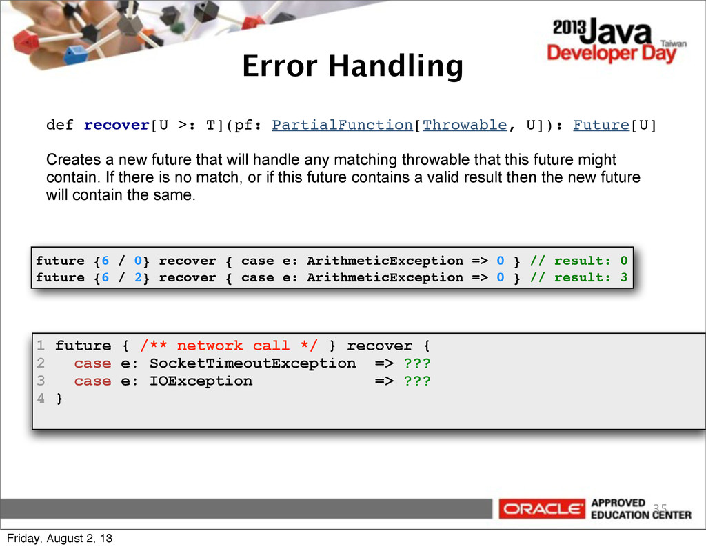 35 def recover[U >: T](pf: PartialFunction[Thro...