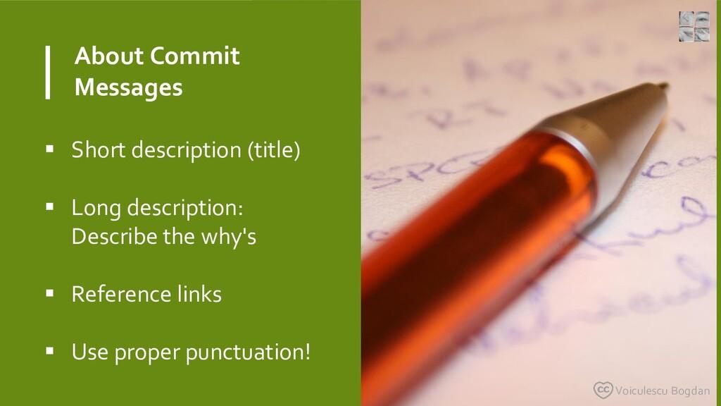 About Commit Messages  Short description (titl...