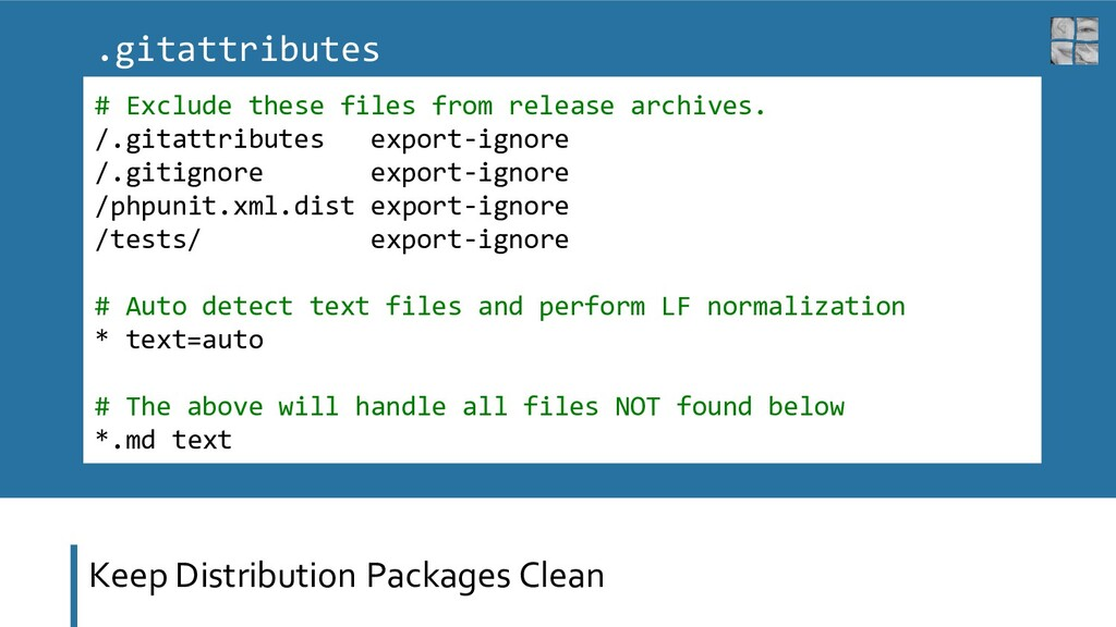 Keep Distribution Packages Clean # Exclude thes...