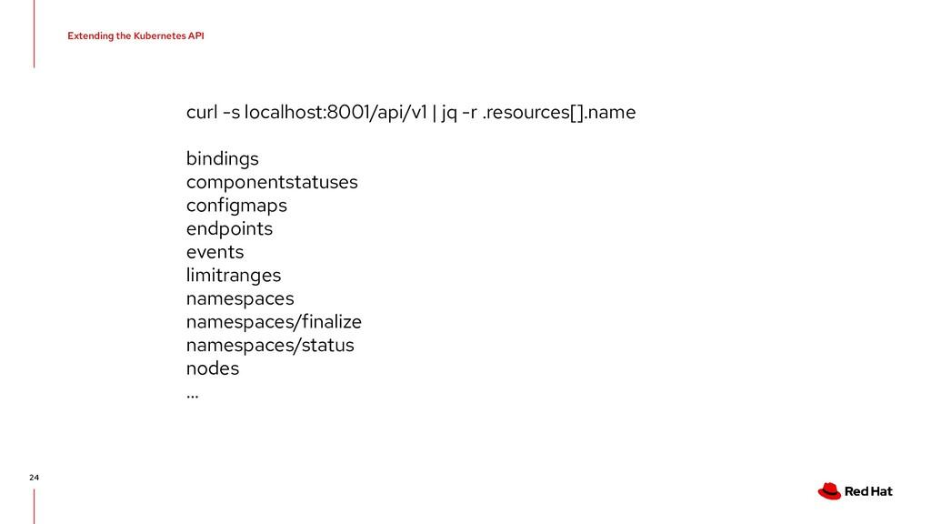 Extending the Kubernetes API 24 curl -s localho...