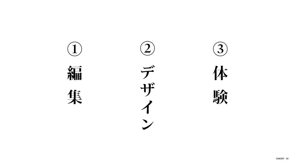 ① 編 集 ② デ ザ イ ン ③ 体 験 42