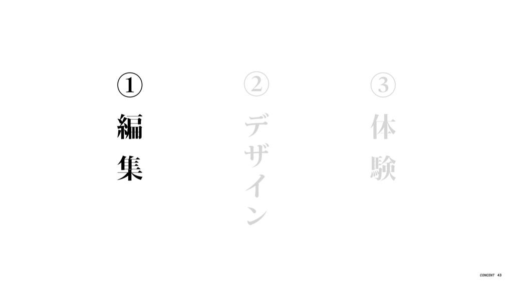 ① 編 集 ② デ ザ イ ン ③ 体 験 43