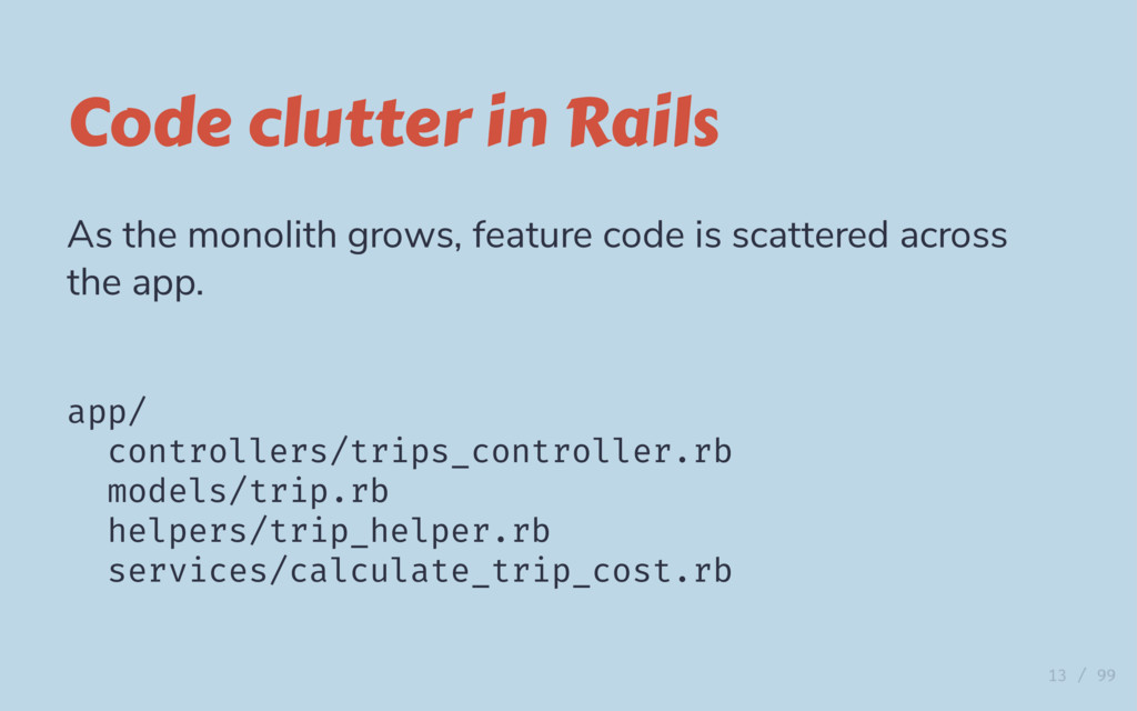 Code clutter in Rails As the monolith grows, fe...