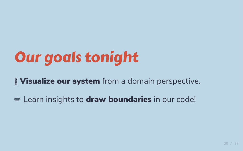 Our goals tonight Visualize our system from a d...