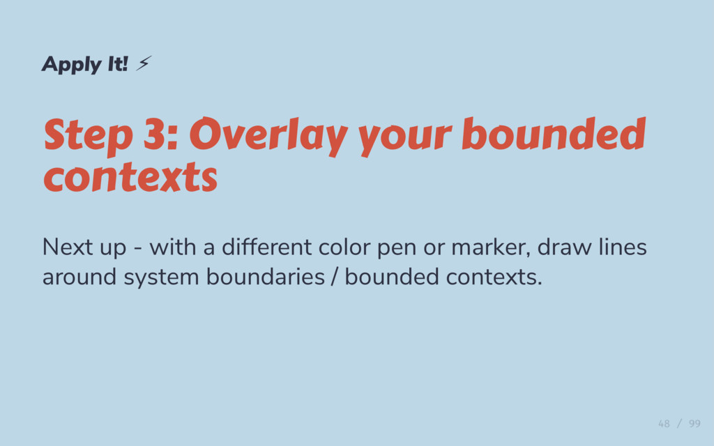 Apply It! ⚡ Step 3: Overlay your bounded contex...