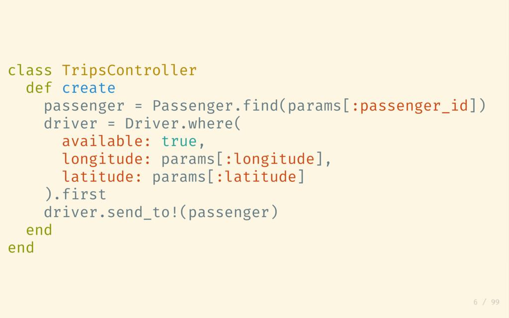 class TripsController def create passenger = Pa...