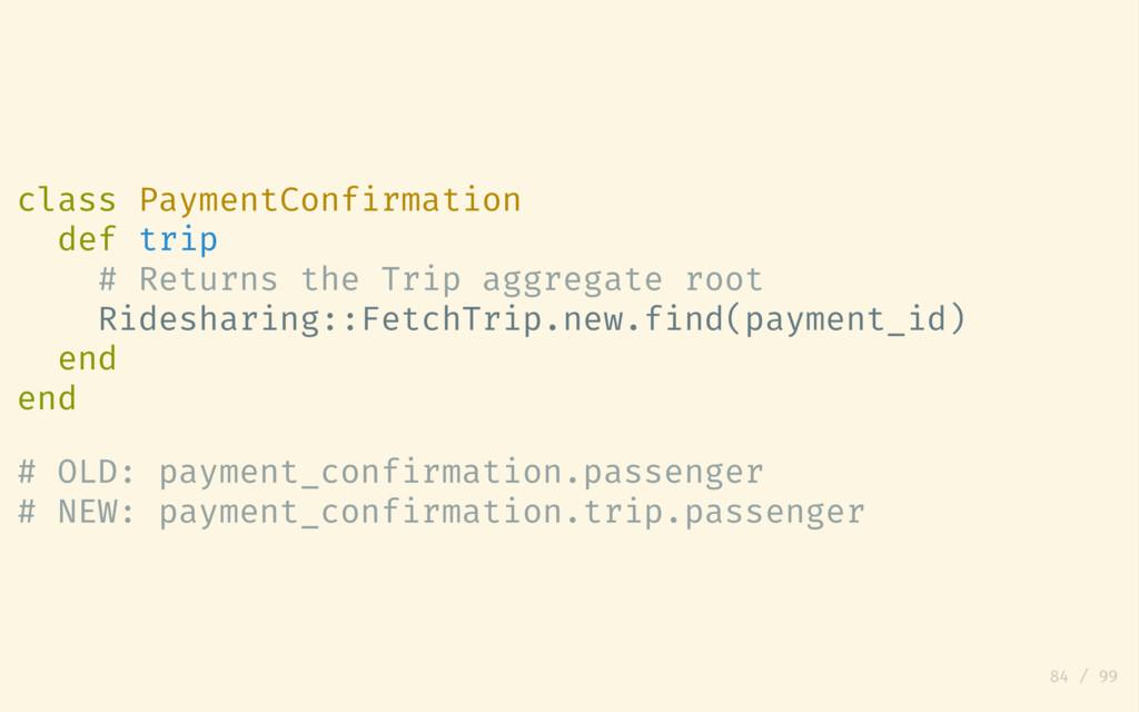 class PaymentConfirmation def trip # Returns th...