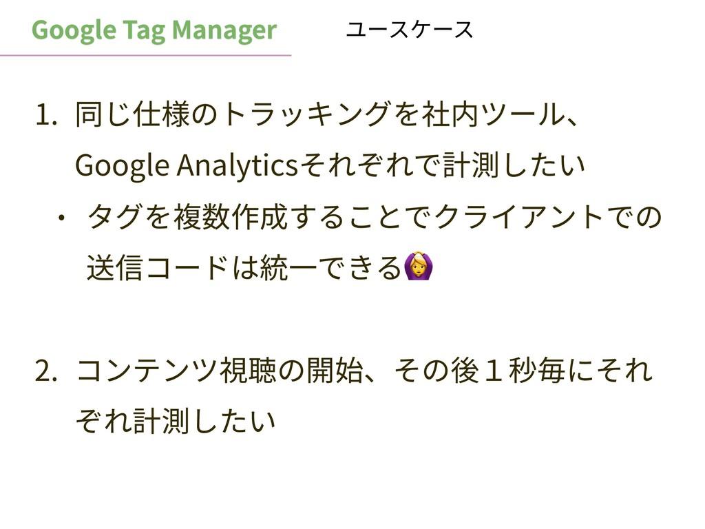 Google Tag Manager 1. 同じ仕様のトラッキングを社内ツール、 Google...