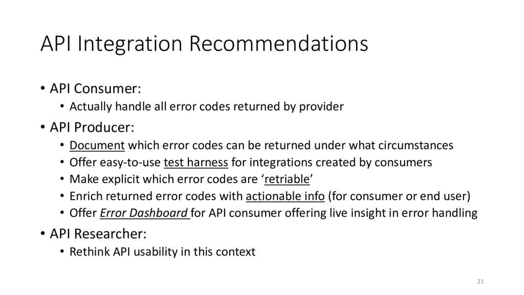 API Integration Recommendations • API Consumer:...