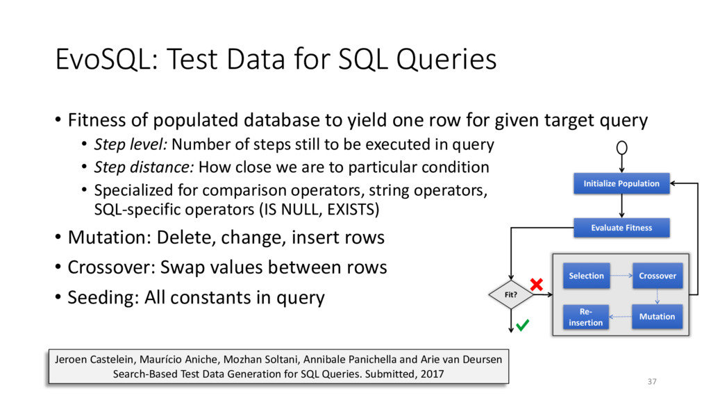 EvoSQL: Test Data for SQL Queries • Fitness of ...